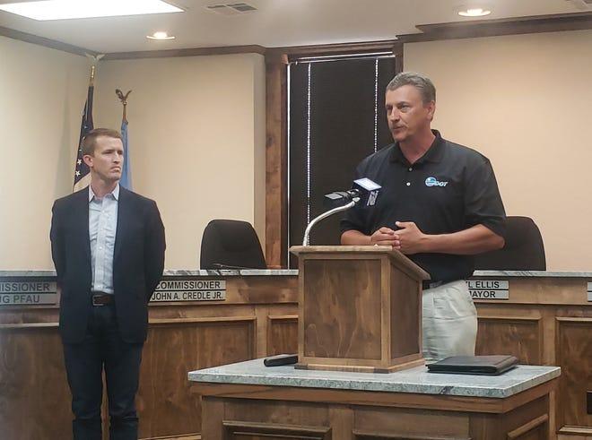 Oklahoma Secretary of Transportation Tim Gatz speaks about rural highways at Ardmore City Hall on Thursday, July 8 as Luke Holland, chief of staff for Sen. Jim Inhofe looks on.
