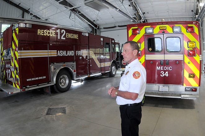 Chief Rick Anderson talks about the convenience of the drive-thru bay at the Ashland Fire Department's new Station No. 2 on Mifflin Avenue.