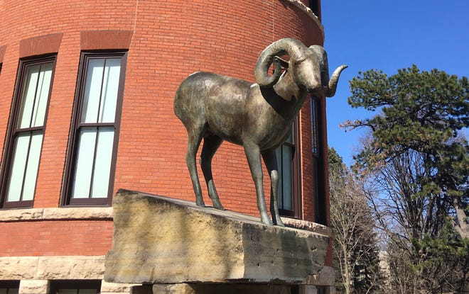 """""""Bighorn"""" by Gwynn Murrill is one of the sculptures in the Elizabeth and Byron Anderson Sculpture Garden."""