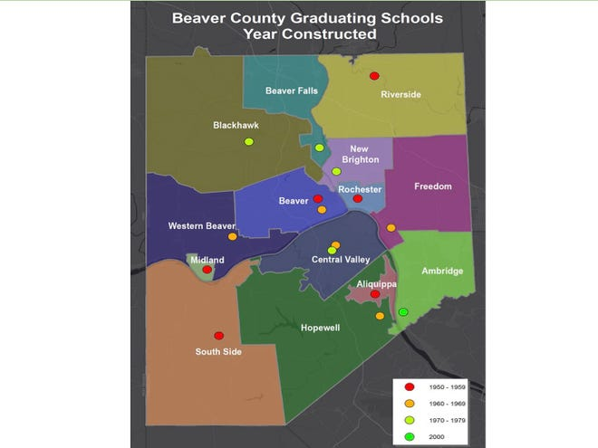 The Beaver County Partnership's Quality Education Council is comprised of approximately 50 members of the K-12, college and post-secondary workforce development communities. The council is conducting a study to enhance the county's education and increase population growth. The map is an image the council shared at a meeting in 2020.