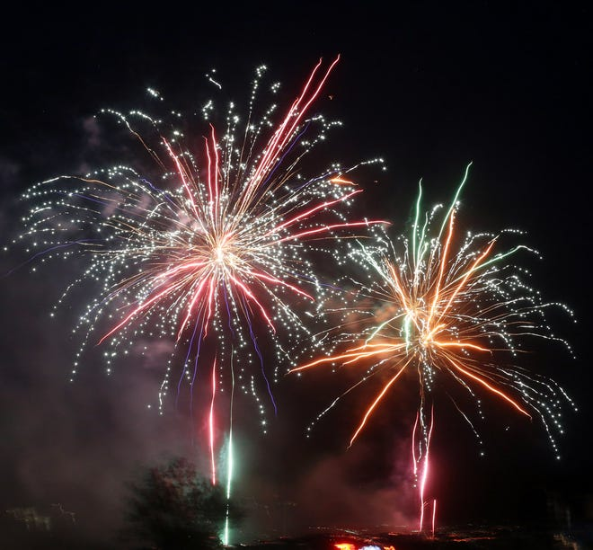 Fireworks light up the sky for the Boonville Chamber of Commerce Fireworks display Sunday at the Cooper County Fairgrounds. Boonville Chamber Associate Mary Hummel said this year's fireworks display, which cost between $5,000-$10,000, lasted approximately 15 minutes.