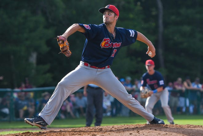 Bourne starter Nick Zwack delivers a pitch against Cotuit on Sunday at Lowell Park.