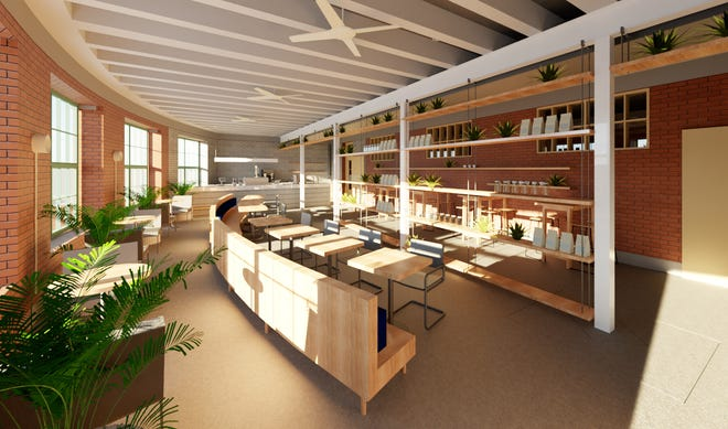 A rendering of Emmett's Cafe at the renovated Open Air building on Neil Avenue.