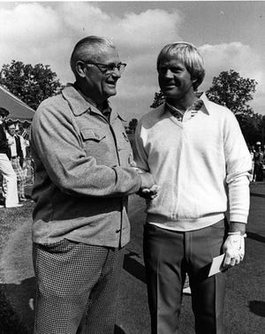 Two Columbus sports legends, Woody Hayes (left) and Jack Nicklaus in 1976 as seen in The Dispatch.