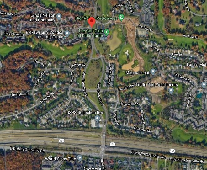 Satellite view of Little Turtle Way East and West, at center, separated by green space, and showing the significant residential development that feeds onto that roadway to get to Route 161, bottom.