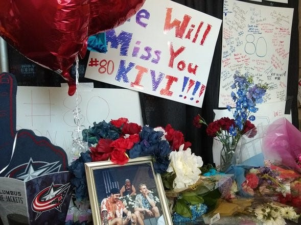 The memorial to Matiss Kivlenieks at Nationwide Arena now includes a poster with a message from goalie Elvis Merzlikins encouraging fans to smile.