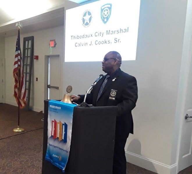 Thibodaux City Marshal Calvin Cooks addresses the Thibodaux Rotary Club Tuesday.