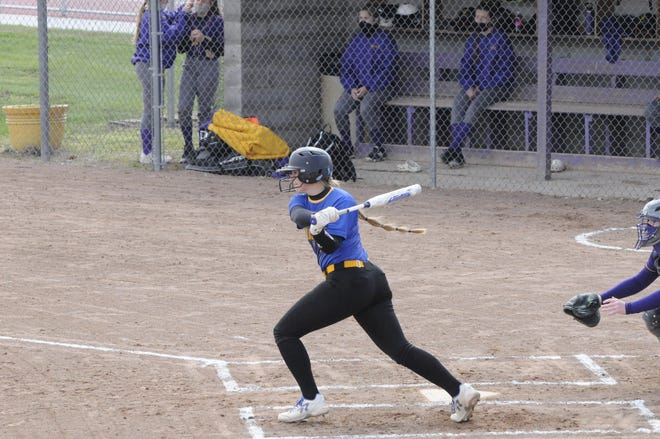 Madison's Lexi Holtz gets a hit during a game in the 2021 season.