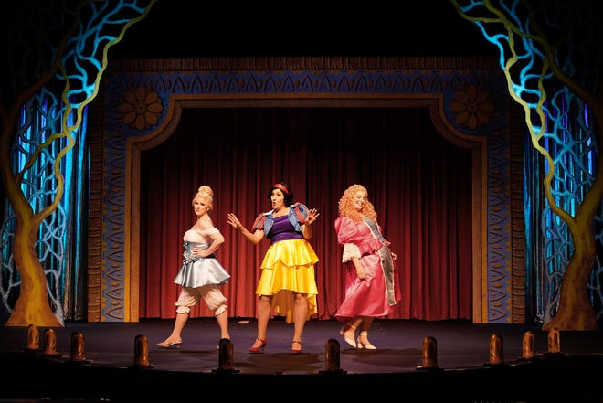 """Sarah Pettee as Cinderella, Tallie Carter as Snow White and Jessica Dougherty as Sleeping Beauty serve as the hosts of """"Disenchanted!,"""" a musical comedy that runs through July 18 at the Croswell Opera House."""