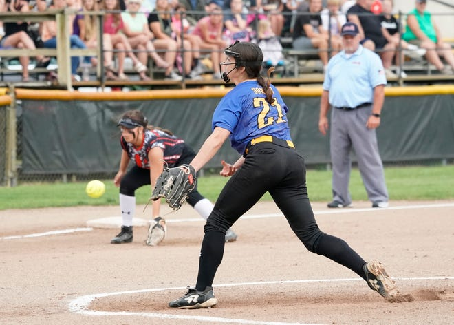 Madison's Calie Sower delivers a pitch during the 2021 Lenawee County Senior Softball All-Star Showcase at Adrian College on Wednesday.