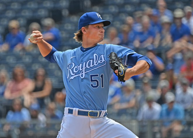 Kansas City Royals starting pitcher Brady Singer (51) throws to a Cincinnati Reds batter in Wednesday's game at Kauffman Stadium. Singer allowed just one run in six innings but the Royals lost 5-2 when the Reds scored all of their runs in the last three innings.