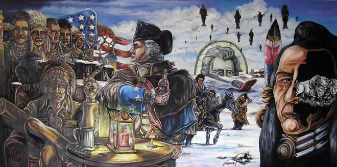 """World-renowned artist James Walker Henry's """"Trail of Tears."""" The 30"""" by 72"""" oil painting is one of many surrealist works by Henry, who documents social and political issues with his art. His newest exhibit, """"The Final Frontier"""" opened at Fort Madison Area Arts Association on Friday."""