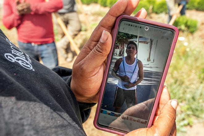 A worker, who declined to be named, looks at a photo of Sebastian Francisco Perez who died last weekend while working in an extreme heat wave, Thursday, July 1, 2021, near St. Paul, Ore.