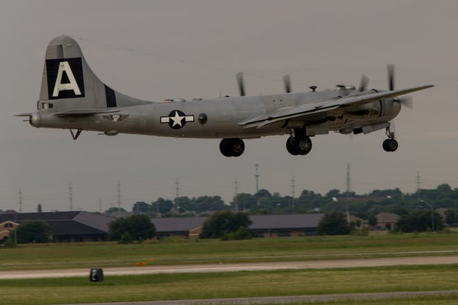 """The B-29 Superfortress, """"Fifi"""" taking off at Wiley Post Airport in Oklahoma City, OK."""