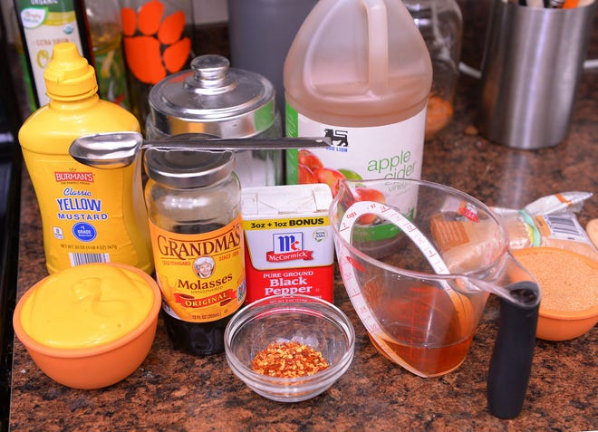 The ingredients to Jed Blackwell's Mustard BBQ sauce.