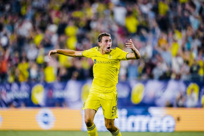Nashville SC's Jack Maher celebrates after the former IU standout scored his first career MLS goal in a 3-2 win over Toronto FC on June 23 at Nissan Stadium in Nashville, Tennessee.