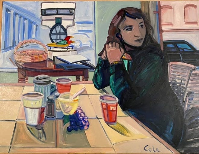 """""""Chicago Cafe"""" is a painting by Patricia Cole."""