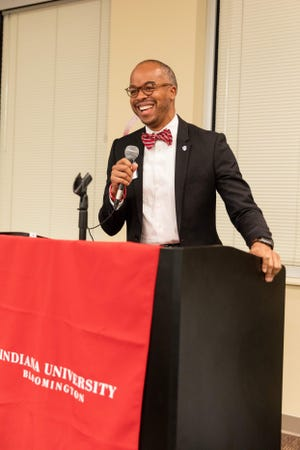 Jeremy Morris addresses a group of incoming Indiana University freshman. Morris received 7,460 votes in this year's IU Board of Trustees election.