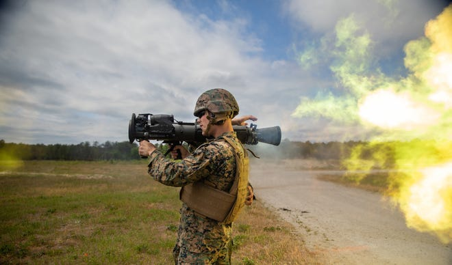 U.S. Marine Corps Cpl. Andrew Ritchie, an armorer with School of Infantry-East, utilizes the M3E1 Multi-Purpose Anti-Armor Anti-Personnel Weapon System to engage targets during a live-fire training with 1st Battalion, 2d Marine Regiment at Camp Lejeune, May 6, 2021.
