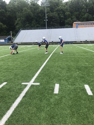 Ripley junior quarterback Ty Stephens awaits the snap during a passing drill at Memorial Stadium. The Vikings, who finished 6-3 a year ago with Stephens at QB, will open the second season of the Steve Sayre era at Brooke on Aug. 27.