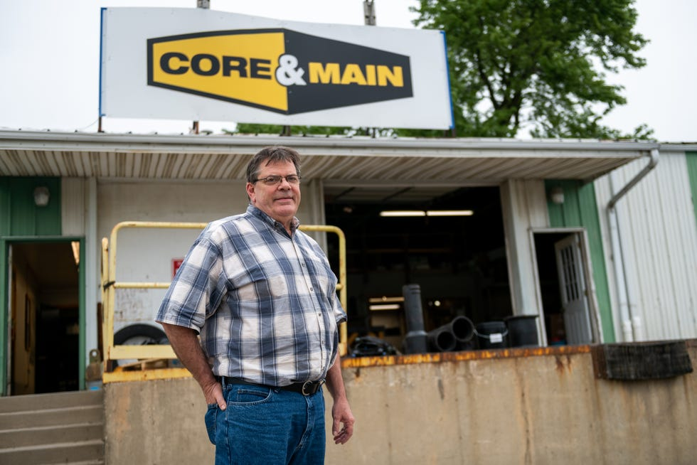 Mike Grawe, the operations manager at Core & Main, poses for a portrait at the company's building in Washington on Thursday, July 8, 2021. The company is planning to break ground on a new building this year.