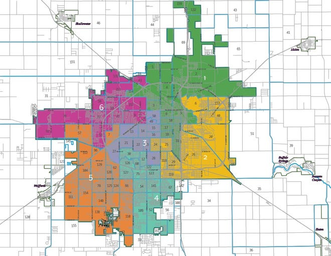 Map of the Lubbock City Council districts.