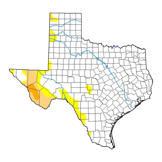Texas drought map as of July 6, 2021.