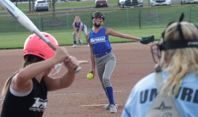 Brynn Goings of Moberly age 12U girls softball team delivers a pitch Wednesday during a Moberly Parks & Recreation Department rec league game played at the Howard Hils Athletic Complex. Moberly defeated Centralia 8-6 in three innings.