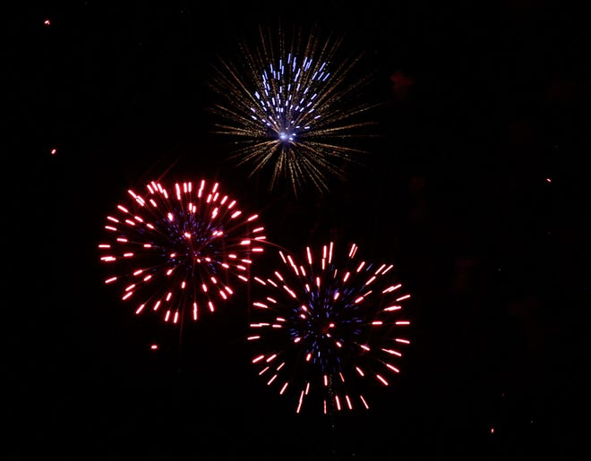With generous donations coming from local businesses, an estimated $28,000 fireworks display having music sounding from the speaker system at the Howard Hils Athletic Complex entertained thousands of persons within a few miles away on Sunday, July 4 in Moberly.