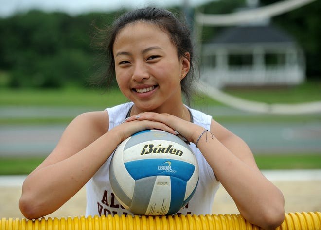 Algonquin Regional High School rising senior Melissa Dai will be a captain on the girls volleyball team next year, here pictured at the Ellsworth McAfee Park sand volleyball court, July 8, 2021.