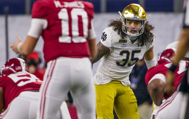 Notre Dame linebacker Marist Liufau (35) has a new number this season (8) and a new importance in the Irish defense with a versatility that fits well in defensive coordinator Marcus Freeman's scheme.