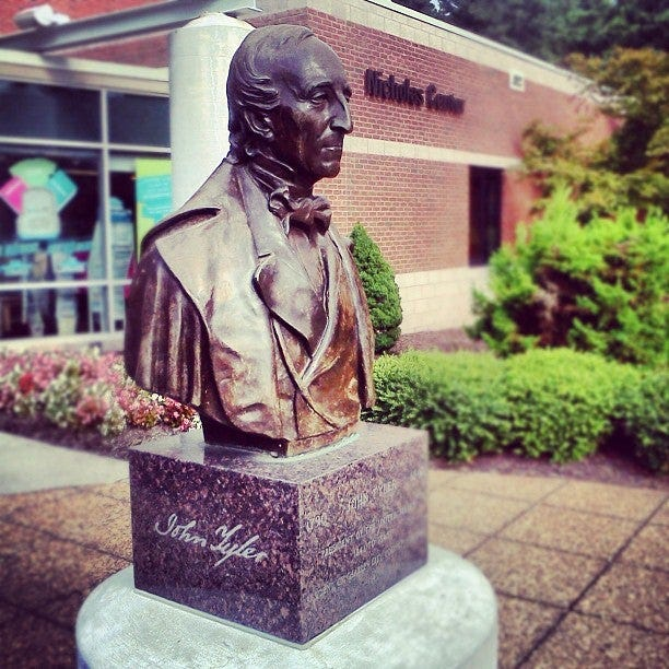A John Tyler bust outside Nicholas Center on the community college's Chester campus is shown in this undated photo.