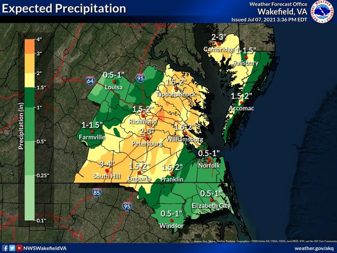 A new map Wednesday, July 7, 2021, from the National Weather Service office in Wakefield has increased the predicted rainfall total for Petersburg to a maximum three inches due to Tropical Storm Elsa.