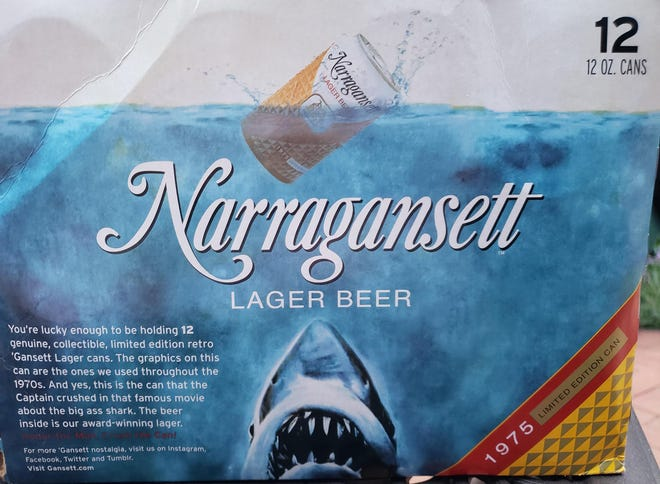 """Too cool for 1975. Narragansett has brought back their classic can seen in """"Jaws"""" for Shark Week."""