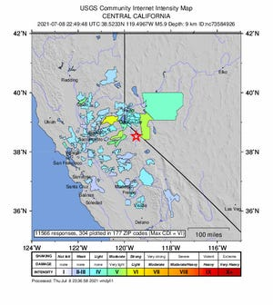 A 5.9 magnitude earthquake southeast of Lake Tahoe was felt as far west as San Francisco and as south as Visalia.