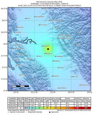 A 4.8 magnitude earthquake centered near Farmington shook Stockton on Thursday.