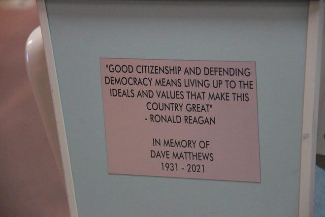 A memorial at Ridgecrest's City Hall memorializes Dave Matthews for his many years of public involvement as a citizen.