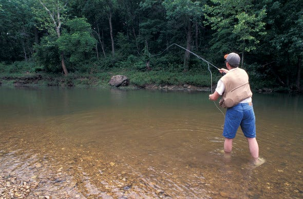 Some small streams hold plenty of fish for flyrod fun. MDC will offer a free lesson on micro fishing in small streams on July 17 at the Parma Woods Shooting Range.
