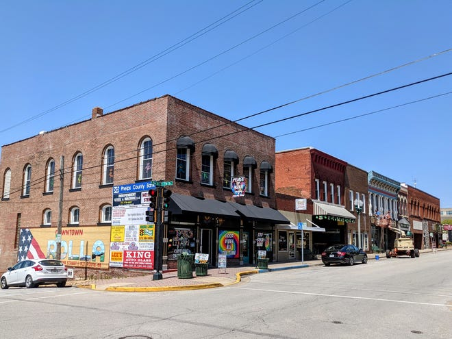 Downtown Rolla in Phelps County.