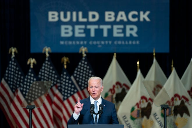 President Joe Biden delivers remarks on infrastructure spending at McHenry County College, Wednesday, July 7, 2021, in Crystal Lake, Ill.