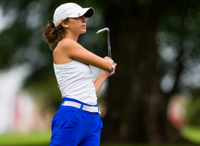 Selah Unwin watches a drive during the final round of the South Bend Women's Metro Open July 8, 2021 at Erskine Golf Club. Unwin is having a strong senior season at Marian.