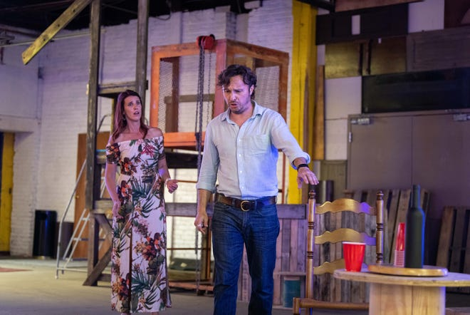"""Anne Fuchs, left, rehearses as Santuzza with Emanuel-Cristian Caraman as Turridu for South Bend Lyric Opera's production of Pietro Mascagni's """"Cavalleria Rusticana"""" that will be staged July 15 and 16, 2021, at 240 E. Tutt St., South Bend."""
