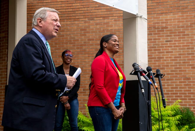 U.S. Sen. Dick Durbin, D-Ill., jokes with Lakisha Thomas, principal of Jane Addams Elementary School, during a press conference Thursday at the school about the expanded Child Tax Credit. [Justin L. Fowler/The State Journal-Register]