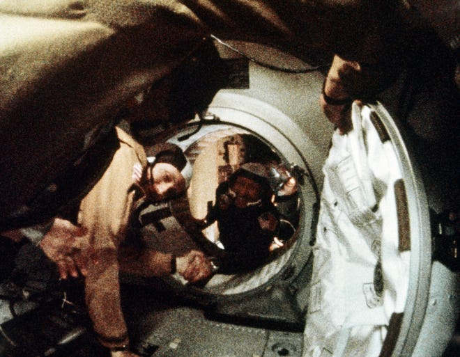 The U.S. and the Soviet Union made a historic rendezvous in space on July 17, 1975. Here two members of the Apollo-Soyuz crew, Alexey Leonov and Thomas Stafford shake hands after link-up that day.