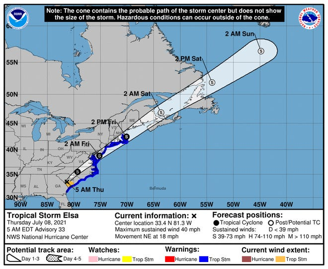 As of 5 a.m. Thursday, rain bands from Tropical Storm Elsa had reached the Wilmington area.