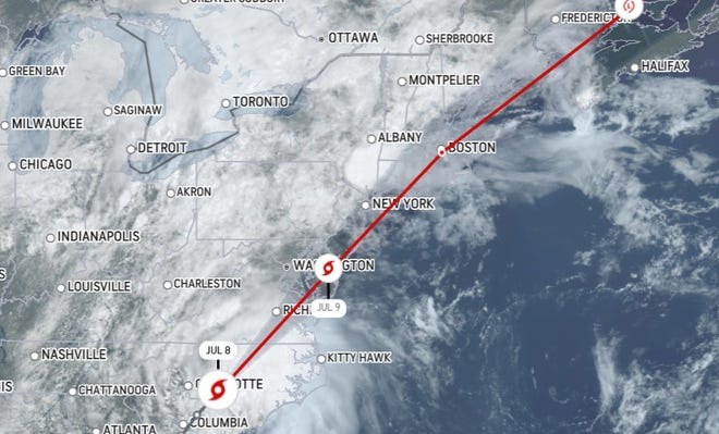 National Weather Service forecasted track of Tropical Storm Elsa, due to arrive on the SouthCoast on Friday.