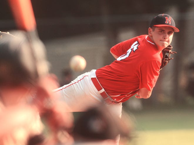 Norwich's Elliott Johnson pitches to  Willimantic's Ryan Lynch Wednesday during their American Legion game at Dickenman Field in Norwich.