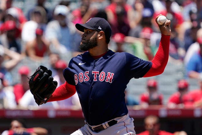 Boston Red Sox pitcher Eduardo Rodriguez throws during the Red Sox's 5-4 loss against the Los Angeles Angels Wednesday in Anaheim, Calif.