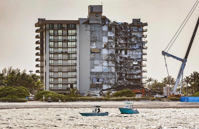 The partially collapsed 12-story oceanfront condo, Champlain Towers South in Surfside, Florida.
