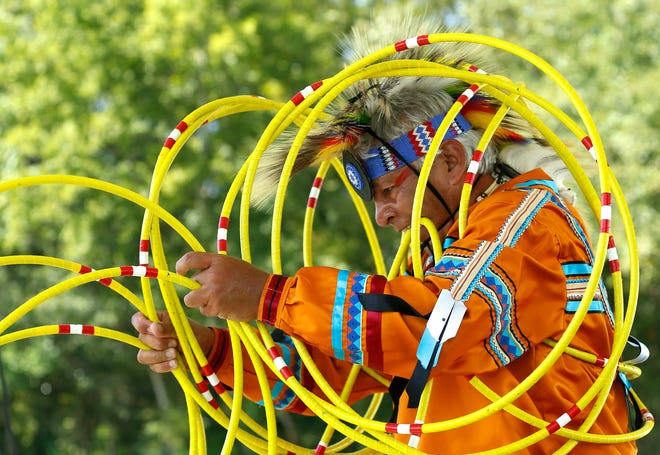 Lyndon Alec does a hoop dance during the Native American Festival at the Moundville Archaeological Park Thursday, Oct. 4, 2018. Organizers said Tuesday that the 33rd annual festival, scheduled for Oct. 7-9, has been canceled. [Staff Photo/Gary Cosby Jr.]